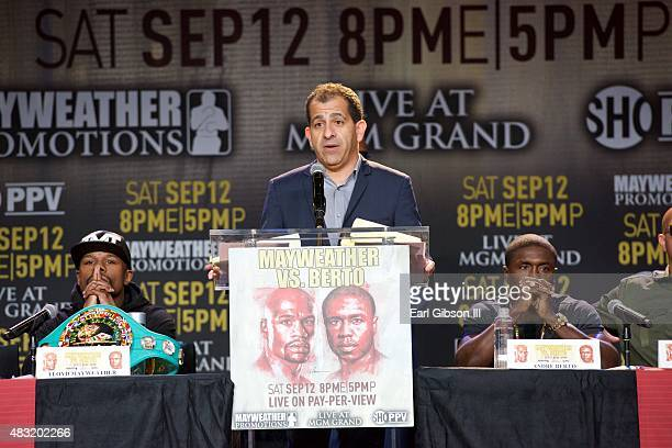Floyd Mayweather Jr Executive Vice President General Manager of Showtime Sports Stephen Espinoza and Andre Berto attend the Los Angeles press...
