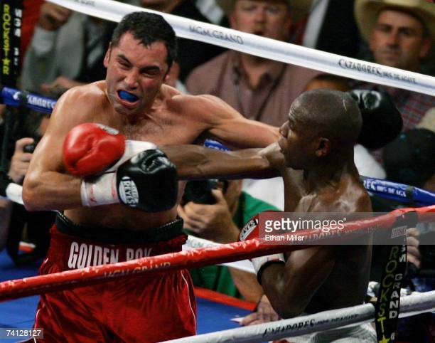 Floyd Mayweather Jr. Hits Oscar De La Hoya in the fifth round of their WBC super welterweight championship fight at the MGM Grand Garden Arena May 5,...