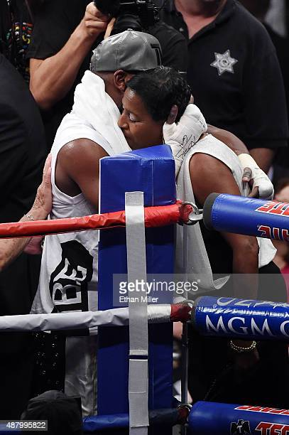 Floyd Mayweather Jr hugs his mother Deborah Sinclair after defeating Andre Berto in their WBC/WBA welterweight title fight at MGM Grand Garden Arena...