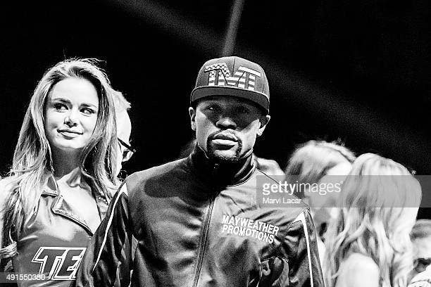 Floyd Mayweather Jr looks toward the crowd on May 1 at the MGM Grand Garden Arena in Las Vegas Nevada at the final weighin before his fight against...