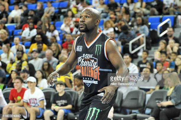 Floyd Mayweather Jr. Participates in the Monster Energy $50K Charity Challenge Celebrity Basketball Game at UCLA's Pauley Pavilion on July 08, 2019...