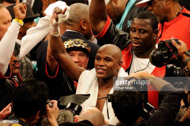 Floyd Mayweather Jr reacts after defeating Shane Mosley by unanimous decision after the welterweight fight at the MGM Grand Garden Arena on May 1...