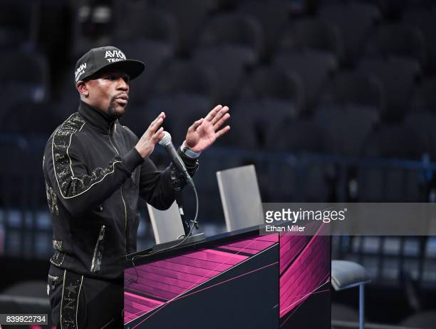 Floyd Mayweather Jr speaks a news conference after defeating Conor McGregor by 10thround TKO in their super welterweight boxing match at TMobile...