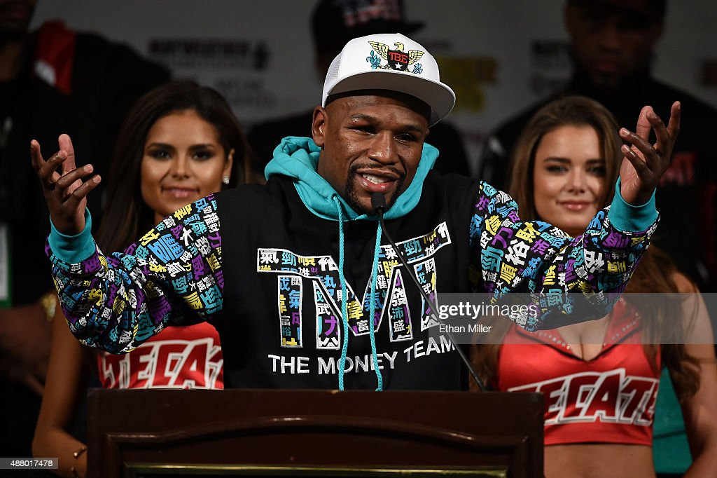 Floyd Mayweather Jr. speaks during a post-fight news conference at MGM Grand Hotel & Casino after he retained his WBC/WBA welterweight titles in a unanimous-decision victory over Andre Berto on September 12, 2015 in Las Vegas, Nevada.