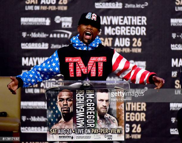 Floyd Mayweather Jr speaks during the Floyd Mayweather Jr v Conor McGregor World Press Tour at Staples Center on July 11 2017 in Los Angeles...