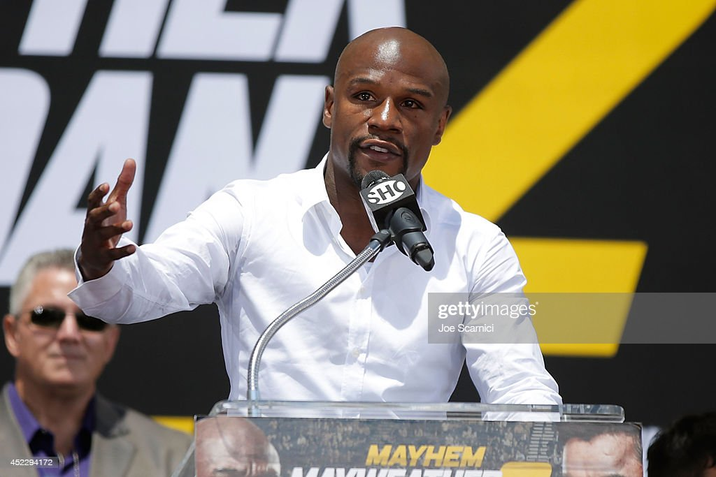 Floyd Mayweather Jr. speaks on stage during a news conference at Pershing Square in Downtown Los Angeles on July 17, 2014 in Los Angeles, California.