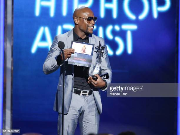 Floyd Mayweather Jr speaks onstage during the 'BET AWARDS' 14 held at Nokia Theater LA LIVE on June 29 2014 in Los Angeles California