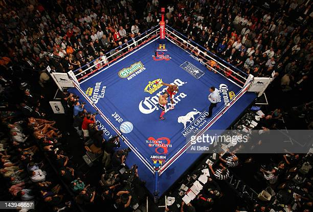 Floyd Mayweather Jr throws a right to the body of Miguel Cotto during their WBA super welterweight title fight at the MGM Grand Garden Arena on May 5...