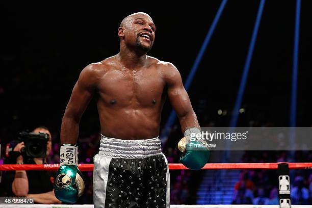 Floyd Mayweather Jr walks in the ring during his WBC/WBA welterweight title fight against Andre Berto at MGM Grand Garden Arena on September 12 2015...