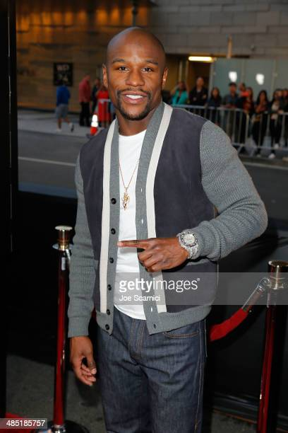 Floyd Mayweather Jr walks the 'A Haunted House 2' Los Angeles Premiere Red Carpet at Regal Cinemas LA Live on April 16 2014 in Los Angeles California