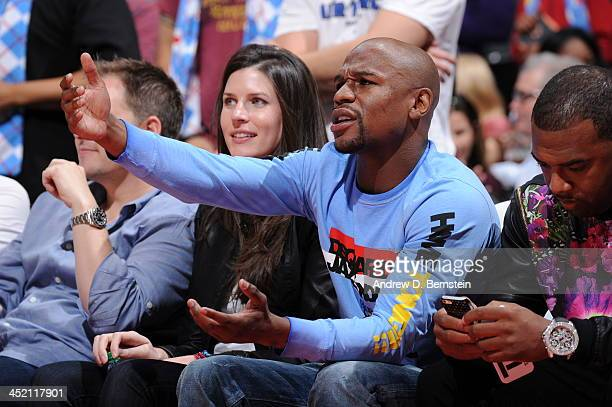 Floyd Mayweather Jr watches the Los Angeles Clippers game against the Chicago Bulls at Staples Center on November 24 2013 in Los Angeles California...