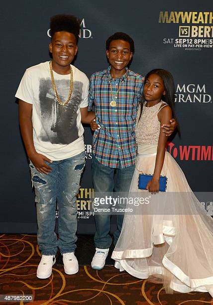Floyd Mayweather Jr's children Dillon Mayweather Koraun Mayweather and Jirah Mayweather attend the VIP PreFight Party for 'High Stakes Mayweather v...