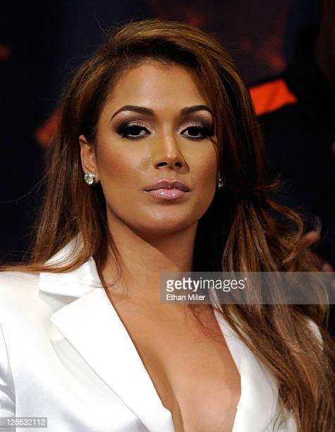 Floyd Mayweather Jr's fiancee Shantel Jackson appears at a postfight news conference after Mayweather defeated Victor Ortiz to win the WBC...