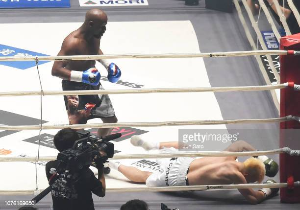 Floyd Mayweather knocks out Tenshin Nasukawa in their exhibition match during the RIZIN 14 at Saitama Super Arena on December 31 2018 in Saitama Japan