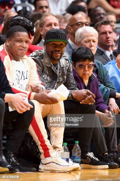 Floyd Mayweather looks on during the game between the Los Angeles Lakers and the Philadelphia 76ers on November 15 2017 at STAPLES Center in Los...