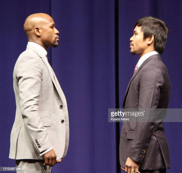 Floyd Mayweather of the United States and Manny Pacquiao of the Philippines come face-to-face in Los Angeles on March 11 during a press conference to...