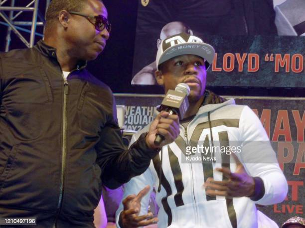 Floyd Mayweather of the United States speaks in Las Vegas on April 28 ahead of his bout against Manny Pacquiao of the Philippines.