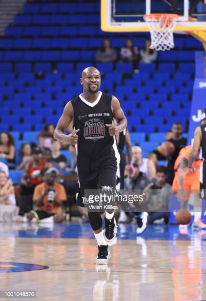 Floyd Mayweather plays basketball at Monster Energy Outbreak Presents $50K Charity Challenge Celebrity Basketball Game at UCLA's Pauley Pavilion on...