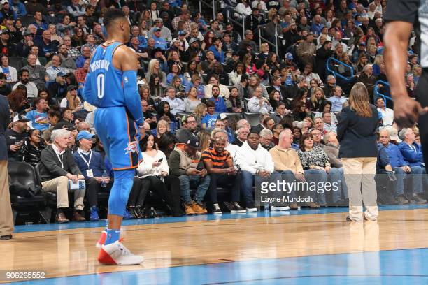 Floyd Mayweather spectates during the game as the Los Angeles Lakers take on the Oklahoma City Thunder on January 17 2018 at Chesapeake Energy Arena...