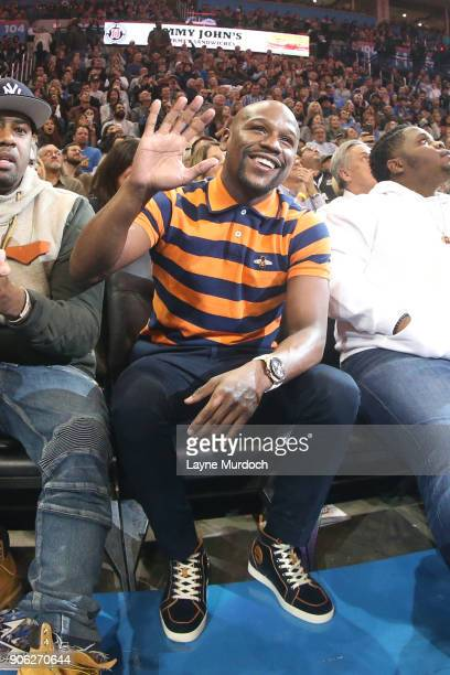 Floyd Mayweather spectates during the game between the Oklahoma City Thunder and the Los Angeles Lakers on January 17 2018 at Chesapeake Energy Arena...
