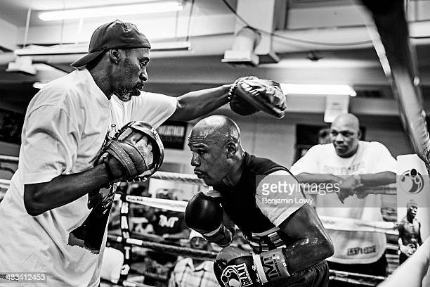Floyd Mayweather trains at his gym on July 25 in Las Vegas Nevada in preparation for his fight with Saul Alvarez a Mexican boxer known as El Canelo...