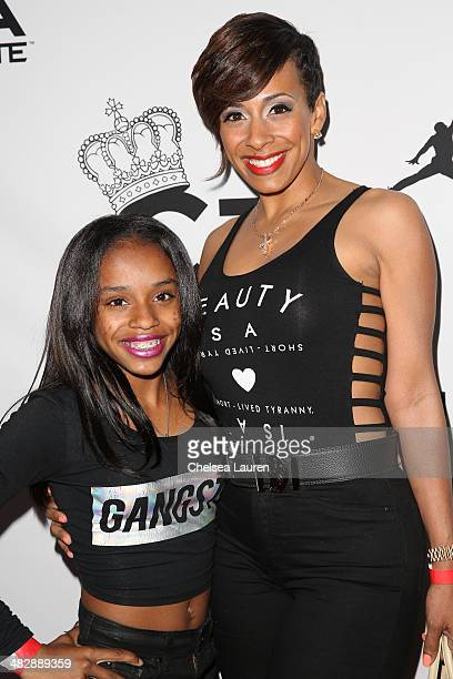Floyd Mayweather's daughter Iyanna Mayweather and Melissa Brim arrive at Christian Casey Combs' 16th birthday party at 1OAK on April 4 2014 in West...
