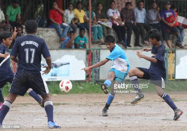 Floyd Pereira takes strike at final football match between Don Bosco and Navy Children School at MSSA ground in Mumbai