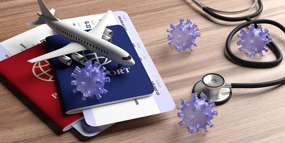 Flu coronavirus and doctor stethoscope on wood. 3d illustration 1203041783