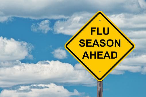 Flu Season Ahead Warning Sign 1062139820