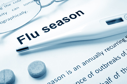 Flu season sign on a paper and glasses. 609622186