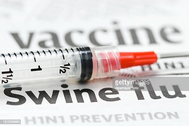 H1N1 Flu Shot, Vaccination headlines (red syringe) - IV