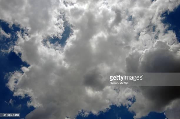 Fluffy clouds in a blue summer sky