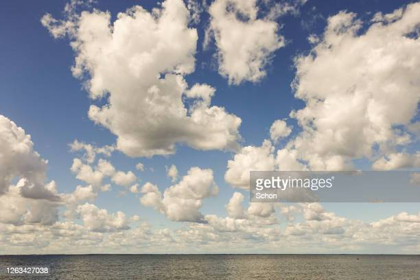 fluffy clouds over sea in summer in daylight - meteorology stock pictures, royalty-free photos & images