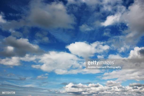 Fluffy clouds scudding across a blue sky