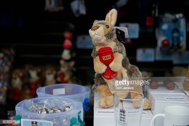 A fluffy toy kangaroo with an ashes urn for sale during day one of the 5th Ashes test match England v Australia at The Oval on August 20th 2015 in...