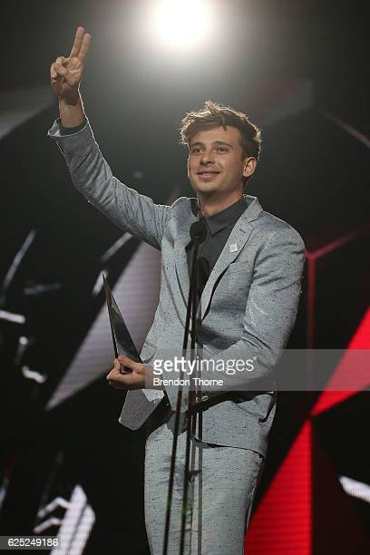 Flume accepts an ARIA for Best Dance Release during the 30th Annual ARIA Awards 2016 at The Star on November 23 2016 in Sydney Australia