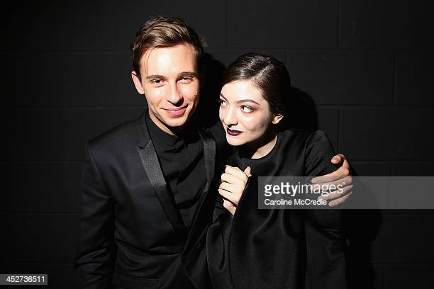 Flume and Lorde pose backstage at the 27th Annual ARIA Awards 2013 at the Star on December 1 2013 in Sydney Australia