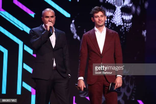 Flume and Zane Lowe present on stage during the 31st Annual ARIA Awards 2017 at The Star on November 28 2017 in Sydney Australia