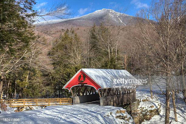 flume covered bridge in winter - covered bridge stock photos and pictures