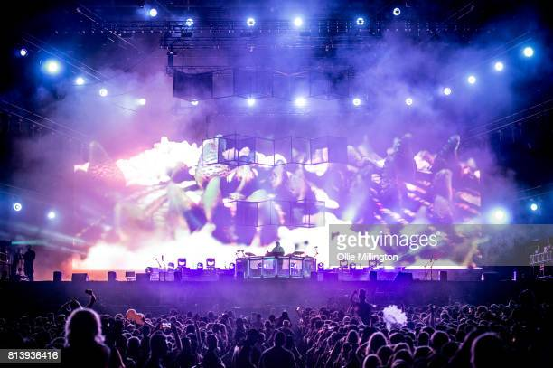 Flume performing a headline show during Day 7 of the 50th Festival D'ete De Quebec on the Main Stage at the Plaines D' Abraham on July 12 2017 in...