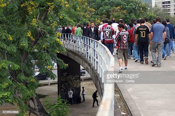 Fluminense fans arriving to the stadium for the Fluminense V Internacional, Futebol Brasileirao Campeonato Brasileiro Serie-A 2010 League match at...