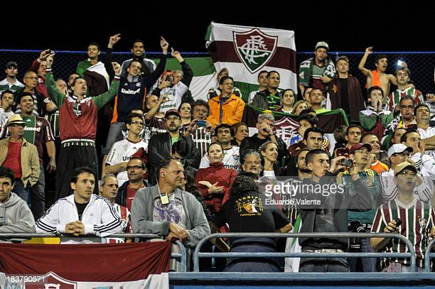 Fluminense fans before the match between Vasco and Fluminense for the Brazilian Series A 2013 at Ressacada stadium on October 09 2013 in...