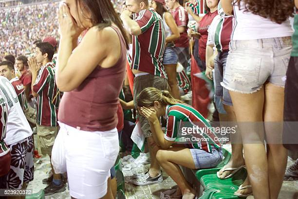 Fluminense fans can't bear to watch as their side prepare to take a penalty during the Fluminense V Sao Paulo Futebol Brasileirao League match which...