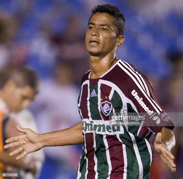 Fluminense footballer Cicero Santos celebrates after scoring against Liga Deportiva de Quito during a Libertadores Cup match held on April 17 2008 in...
