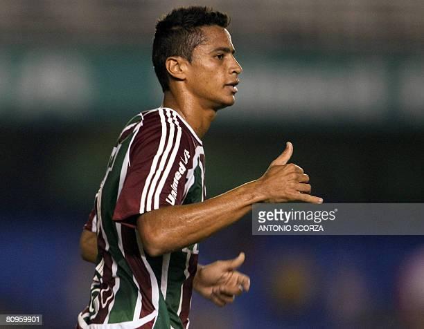 Fluminense footballer Cicero Santos celebrates his goal against Liga Deportiva de Quito during a Libertadores Cup match held on April 17 2008 in Rio...