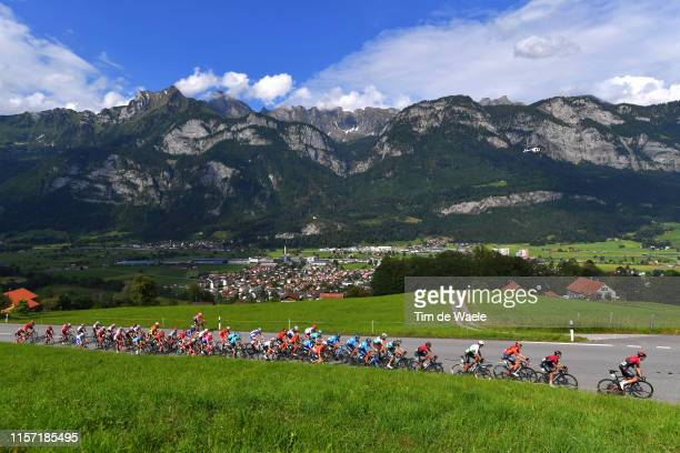 Flums Village / Flumserberg Mountains / Ben Swift of United Kingdom and Team INEOS / Jonathan Castroviejo of Spain and Team INEOS / Rohan Dennis of...
