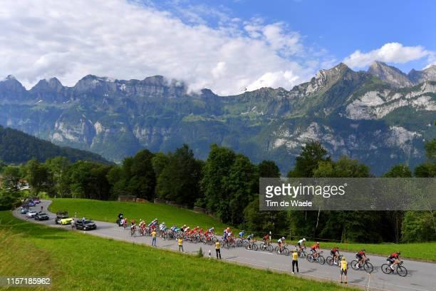 Flumserberg Mountains / Peloton / Landscape / Mountains / Fans / Public / Caravan / during the 83rd Tour of Switzerland - Stage 6 a 120,2km stage...
