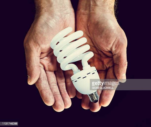 fluorescent bulb in hands - energy efficient lightbulb stock pictures, royalty-free photos & images