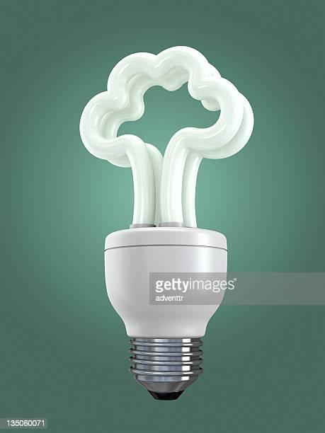 Fluorescent light bulb with tree shape