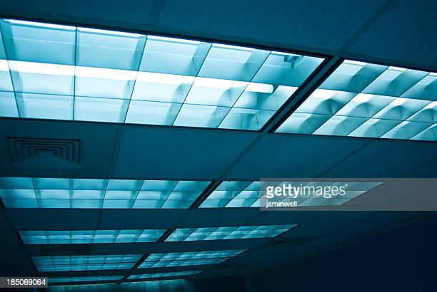 Fluorescent lights and ceiling tiles in an office